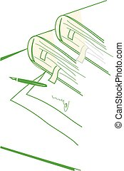 ペーパー, ペン, 本, テーブル。, 山, bookmarks