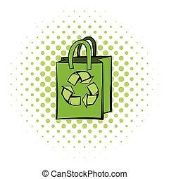 ペーパー, リサイクルしなさい, 袋, シンボル
