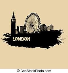 ペーパー, ロンドン, 古い, 風景