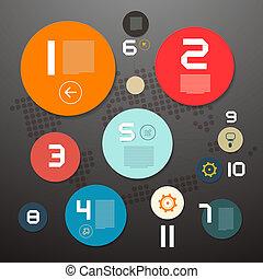 ペーパー, 円, ベクトル, レイアウト, infographics
