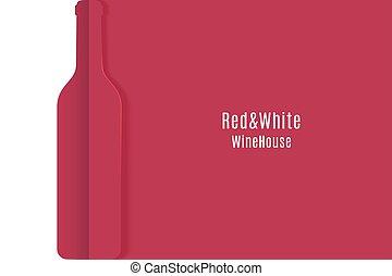 ペーパー, 切口, ワイン, banner., 白, ベクトル, 赤