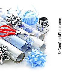 ペーパー, 包むこと, クリスマス, 回転する