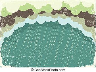 ペーパー, 古い, イラスト, 雲, 背景, 雨が降る, texture., 型
