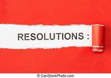 ペーパー, 句, の後ろ, 引き裂かれた, resolutions