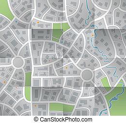 ペーパー, 地図, ベクトル, 都市