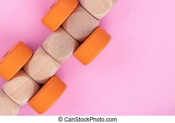 ペーパー, 子供, circles., 平面図, バックグラウンド。, 立方体, 教育, 列車, オレンジライト, ゲーム, の上, 作られた, 終わり, ピンク, 木製である