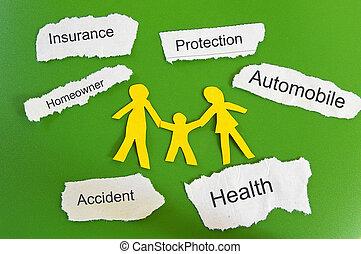 ペーパー, 家族, そして, 保険, themed, ペーパー, 小片