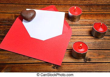 ペーパー, 封筒, 空, 赤
