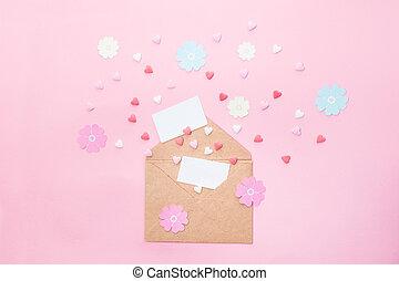 ペーパー, 心, カード, から, ピンク, スペース, 3月, concept., ハンドメイド, 日, 砂糖, ...