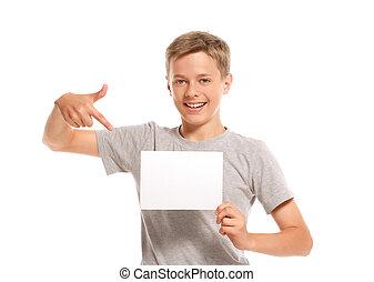 ペーパー, 指すこと, 男の子, 微笑, ブランク, 白