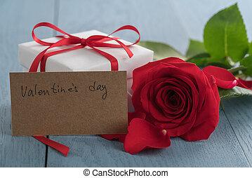 ペーパー, 日, テーブル, レッドカード, 木, バレンタイン, ばら