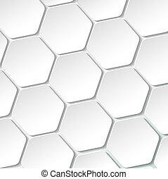 ペーパー, 白, ラベル, 六角形