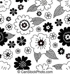 ペーパー, 白, 包むこと, デザイン, seamless, バックグラウンド。, ベクトル, 型, 春, 引かれる, 花, かわいい, パターン, レトロ, 黒, 花, 手, 葉, 生地, スタイル, カバー