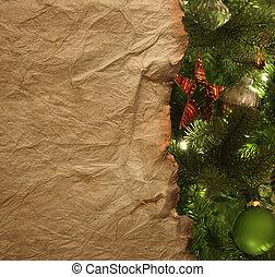 ペーパー, 羊皮紙, 背景, クリスマス