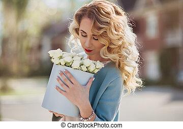ペーパー, 美しい, 花, 女, 箱