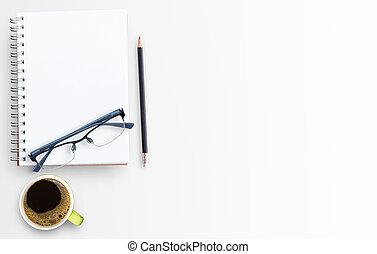 ペーパー, 背景, カップ, テーブル, ブランク, コーヒー, ノート, 白