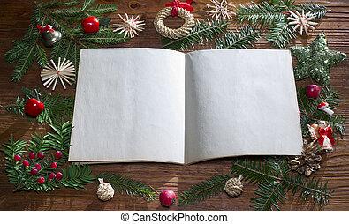 ペーパー, 背景, クリスマス, 空