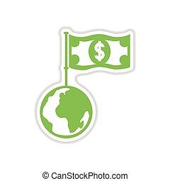 ペーパー, 背景, 地球, 白, お金, ステッカー