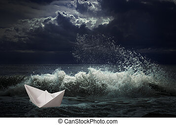ペーパー, 船, 概念, 嵐