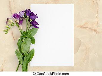 ペーパー, 花, カード, ブランク