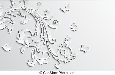 ペーパー, 花, 背景, 抽象的, 花, butterflies.