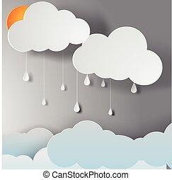 ペーパー, 芸術, の, 雨, 季節