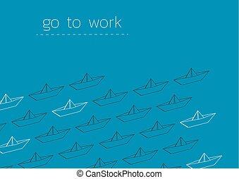 ペーパー, 行きなさい, 仕事, 折られる, ボート