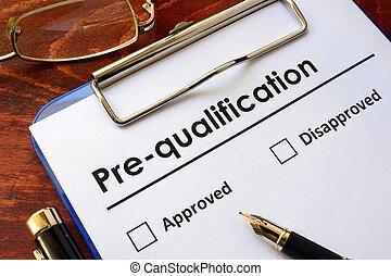 ペーパー, 言葉, pre-qualification