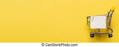 ペーパー, 買い物カート, 黄色, 白, リスト, メモ