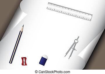 ペーパー, 鉛筆, セット, 消しゴム, 文房具
