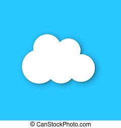 ペーパー, 雲, 上に, a, 青, sky., artoon, ペーパー, 雲, イラスト, バックグラウンド。,...