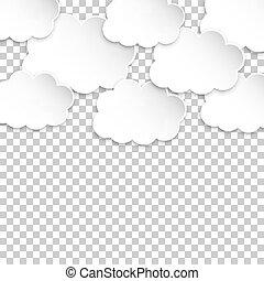 ペーパー, clouds., artoon, ペーパー, 雲, イラスト, 上に, 隔離された, 透明,...