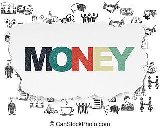 ペーパー, concept:, 背景, ビジネス, お金, 引き裂かれた