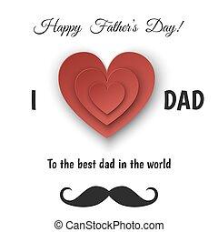 ペーパー, heart., カード, 挨拶, 父 日, 幸せ