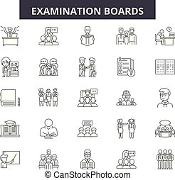 ペーパー, illustration:, テスト, クリップ, セット, 板, クリップボード, アウトライン, 概念, 点検, 文書, アンケート, vector., 板, 線, 検査, サイン, アイコン