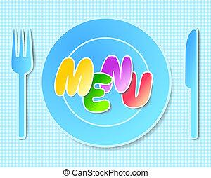 ペーパー, menus., 背景, テーブルウェア