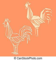 ペーパー, origami, セット, rooster., イラスト