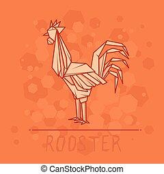 ペーパー, origami, ベクトル, rooster., イラスト