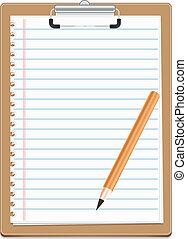 ペーパー, pensil, クリップボード, ブランク