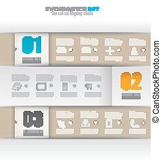 ペーパー, tags., infographic, デザイン, テンプレート