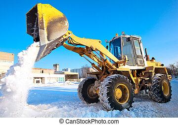 ホイールローダ, 機械, 荷を下すこと, 雪