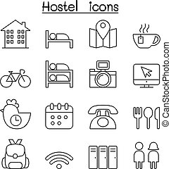 ホステル, アイコン, セット, 中に, 薄いライン, スタイル