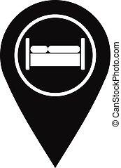 ホステル, スタイル, 単純である, ホテル, 印, アイコン, ベッド
