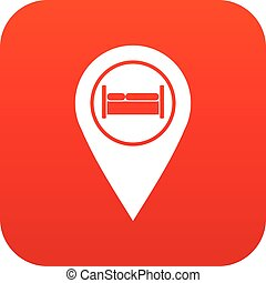 ホステル, ホテル, ベッド, デジタル, 印, 赤, アイコン
