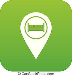 ホステル, ホテル, ベッド, 緑, デジタル, 印, アイコン