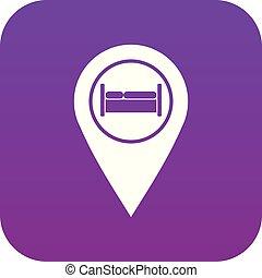 ホステル, 紫色, ホテル, ベッド, デジタル, 印, アイコン