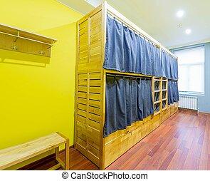 ホステル 部屋, ベッド, 取り決められた, 寄宿舎