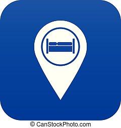 ホステル, 青, ホテル, ベッド, デジタル, 印, アイコン