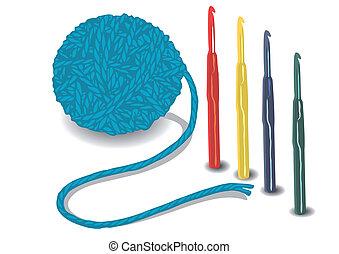 ホック, ボール, ひも, かぎ針で編み物をしなさい