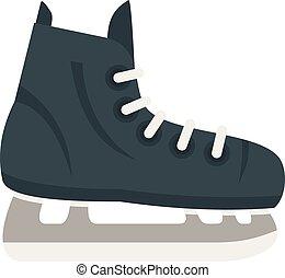 ホッケースケート, スタイル, 平ら, アイコン, 氷